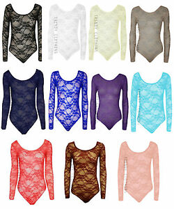 Womens Long Sleeve Lace Floral Bodysuit Stretch Ladies Leotard Body Top