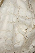 VINTAGE 5 YARDS LOOSE OPEN WEAVE FABRIC LIGHT ECRU LACE