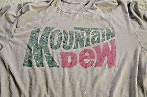 Vintage Look Mountain Dew T-Shirt Men L Green
