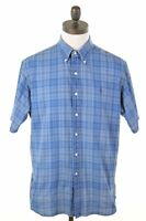 POLO RALPH LAUREN Mens Shirt Short Sleeve Large Blue Check Loose Ellington A210