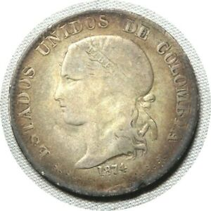 elf Colombia Gran Colombia 2 Decimos 1874 Silver  Medellin