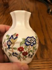 Royal Tara small vase butterfly and flowers blue pink maroon gold on rim 3.5""