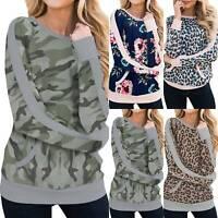 Women Camo Leopard Sweatshirt Crew Neck Comfy Pullover Top Autumn T Shirt Jumper