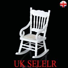 Doll House 1/12 Miniature Furniture Classic White Wooden Rocking Chair Rope Seat