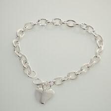 Damen Armband Bettelarmband Gliederarmband mit Herz silber für Charms Anhänger
