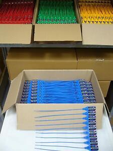 100 x Sicherheitsplomben Plomben security seals Durchziehplomben Plombe PE blau