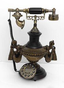 Retro style push button dial desk telephone (onyx) / Home decorative # 1716