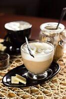 Cappuccino Tasse 230ml mit schwarzem Henkel und Unterteller Kaffeetasse Teetasse