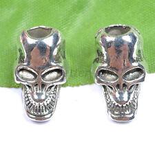 10pcs Tibet Silver Skull Bracelets Charms Spacer Beads 19MM B1348