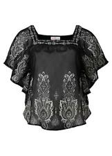 New Sheego Floaty Batwing Black Print  Blouse Size 14/16 BNWT