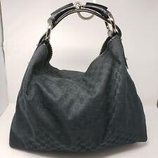 NEW GUCCI $1200 Black Monogram X-Large Horsebit Hobo Bag *DISCONTINUED*