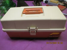 Vintage Tan/Orange Plano 5520 2-Tray Fishing Tackle Box Empty