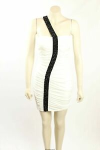 NEW Guess -Size 8- White Party Dress with Black Sequins-RRP:$168.00