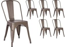 6 Gun Metal Tolix Style Dining Chairs Metal Industrial Quality Kitchen French