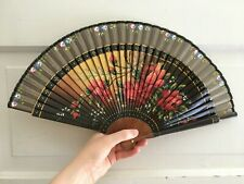 Vintage Hand Fan Hand Painted Roses Wood and Silk Nr