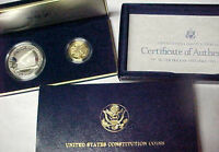 1987-S Constitution 2 Coin Proof Set with $5 Gold Half Eagle and Silver Dollar