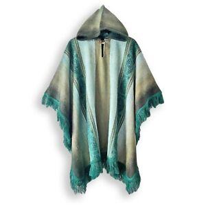Lightweight BABY ALPACA Wool Hooded Fringed Poncho Pullover UNISEX Handmade