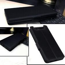 Samsung Galaxy A80 Italian Real Leather Wallet Folio Book Case Black PROREV1