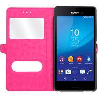 Etui Housse Coque Pochette View Case Rose pour Sony Xperia Z5