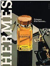 PUBLICITE ADVERSTISING   1981   HERMES   parfum  EQUIPAGE