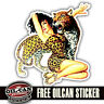 retro pinup leopard girl vintage repro sticker / decal 85 x 85mm surf vw camper