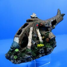 "Combat Helicopter Cave 11"" Aquarium Ornament Decor - Aircraft Air force Wreckage"