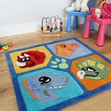 Kid's Soft Thick Blue Square Dinosaur Multi Color Fun Rug 90 x 90cm