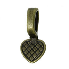 200 Glue on Bails Pendant Hanger Heart Antique Brass Plated 16x8mm