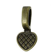 200 Glue on Bails Pendant Hanger Heart Antique Brass Plated 16x8mm