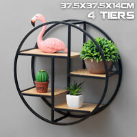 Retro Industrial Floating Round Wood Metal Wall Shelf Rack Storage Ho