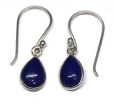 Handmade in 925 Sterling Silver, Real Lapis Lazuli Teardrop Drop Earrings & Bag