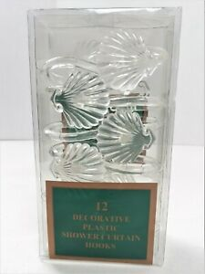 12 Decorative Shower Curtain Hooks New In Package Clear Plastic Shells 321