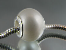 925 STAMPED SILVER CORE PEARL LIKE MURANO CHARM EURO STYLE CHARM BRACELET#DC 320