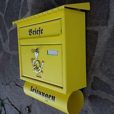 XXL Briefkasten Postkasten Gelb Matt +Zeitungsrolle Katalogeinwurf Nostalgie