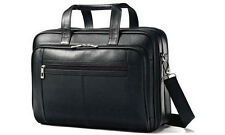 Samsonite Luggage Leather Checkpoint Friendly Briefcase - Black
