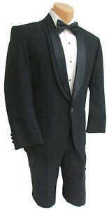 "46L Men's Black Oscar de la Renta Tuxedo Jacket with Pants Mason Prom 40"" Waist"