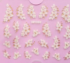 3D Nail Art Stickers Decals Transfers Flowers Lace Butterfly Gold Crystal #90