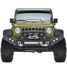 Full Width Front Bumper With S/Work LED Lights&D-Ring For 07-17 Jeep Wrangler JK