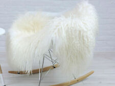 CURLY ICELANDIC SHEEPSKIN RUG NATURAL WHITE CREAM MONGOLIAN CHAIR SOFA COVER #MS