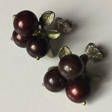 Boucles d'Oreille Groseille Tige en Argent Massif Etat Neuf Earrings