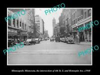 OLD LARGE HISTORIC PHOTO OF MINNEAPOLIS MINNESOTA, VIEW OF 4th & HENNEPIN c1940