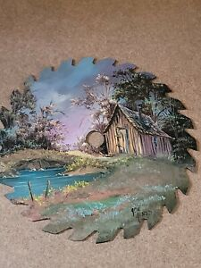 Hand Painted Signed Folk Art Saw Blade - Barn, Pond, Landscape - 7 inch