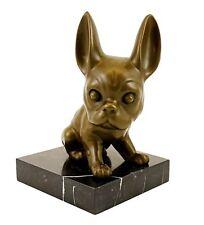 Tierfigur aus Bronze - Französische Bulldogge - Bully - signiert Milo