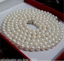 "7-8mm pearl necklace 36"" long perfect Akoya Freshwater Baroque style white"