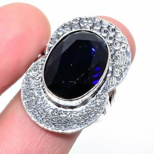Madagascar Blue Sapphire 925 Sterling Silver Jewelry Ring s.9 LR-2676