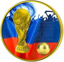2018 3 Roubles WORLD CUP RUSSIA FIFA 1 Oz Silver Coin, 24Kt Gold Gilded.