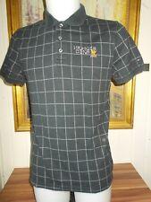 Polo  coton noir à carreaux TOMMY HILFIGER M logo brodé manches courtes