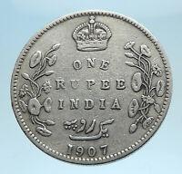 1907 King EDWARD VII of United Kingdom EMPEROR British INDIA Silver Coin i77798