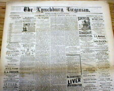 3 rare original 1881 Lynchburg VIRGINIA newspapers from 16 years after Civil War