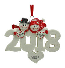 PERSONALIZED 2018 Snow Couple Christmas Tree Ornament Holiday Gift
